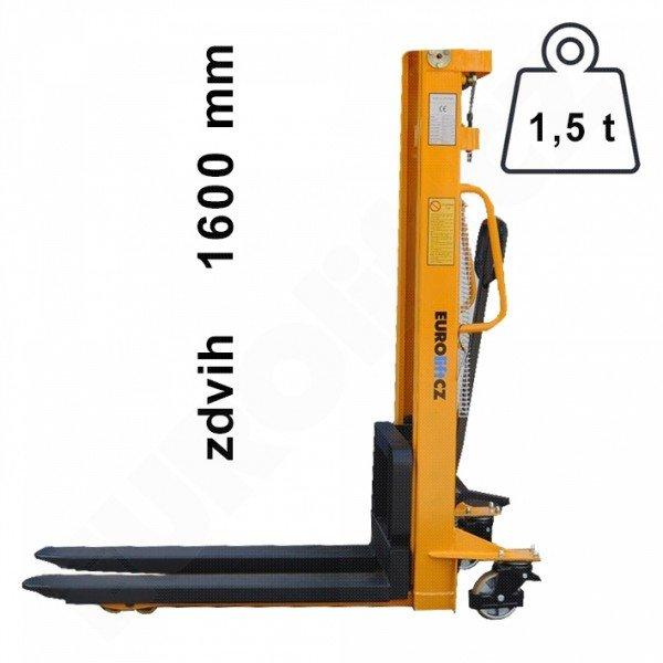 Vysokozdvižný ruční vozík s manuálním zdvihem EUROliftCZ MSE1500-1600