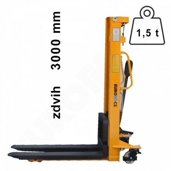 Vysokozdvižný ruční vozík s manuálním zdvihem EUROliftCZ MSE1500-3000